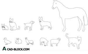 Free Domestic animal blocks dwg for Autocad