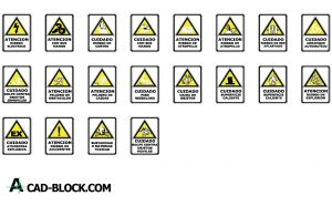 Signage safety and health dwg drawing