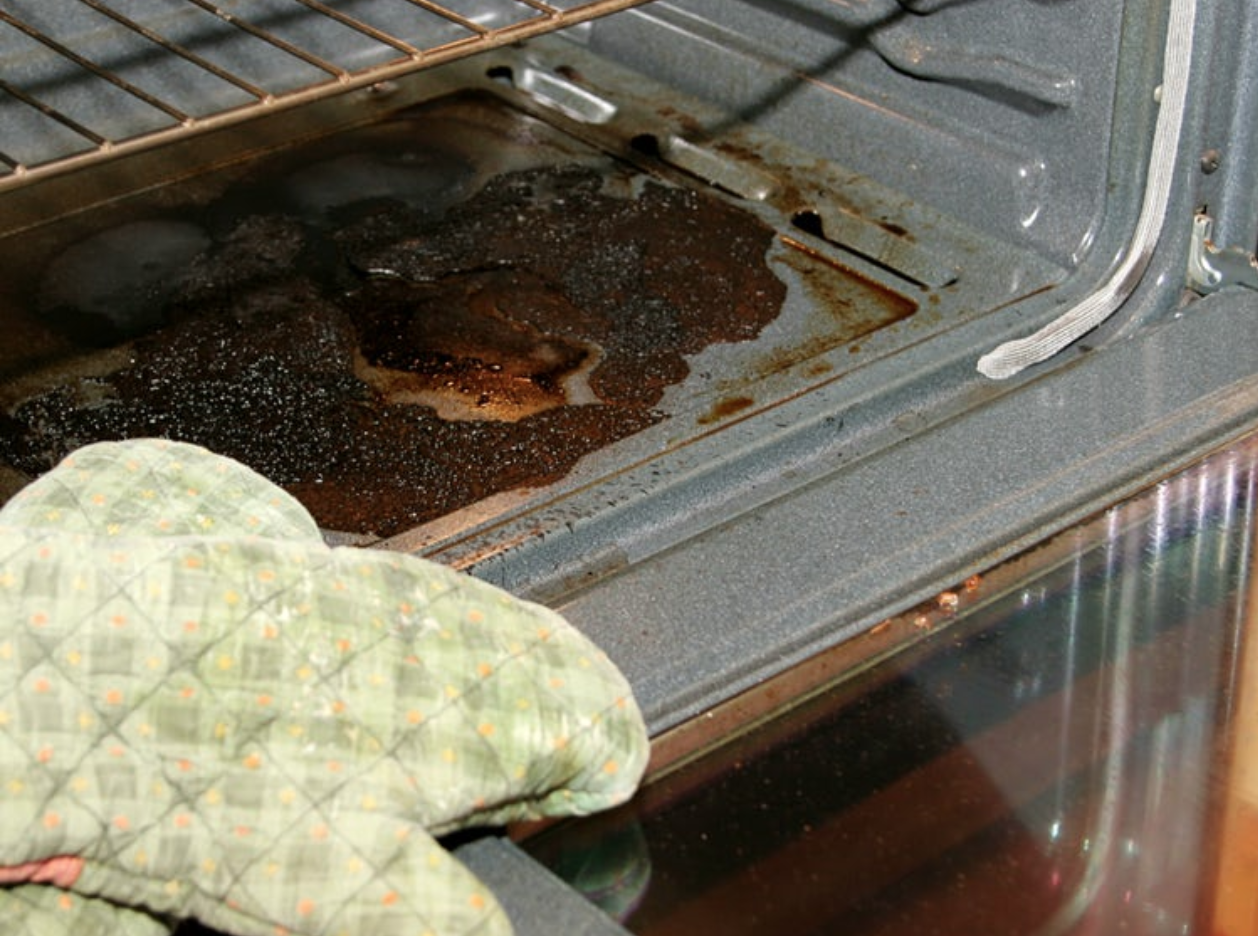 oven with dirty, baked-on stain